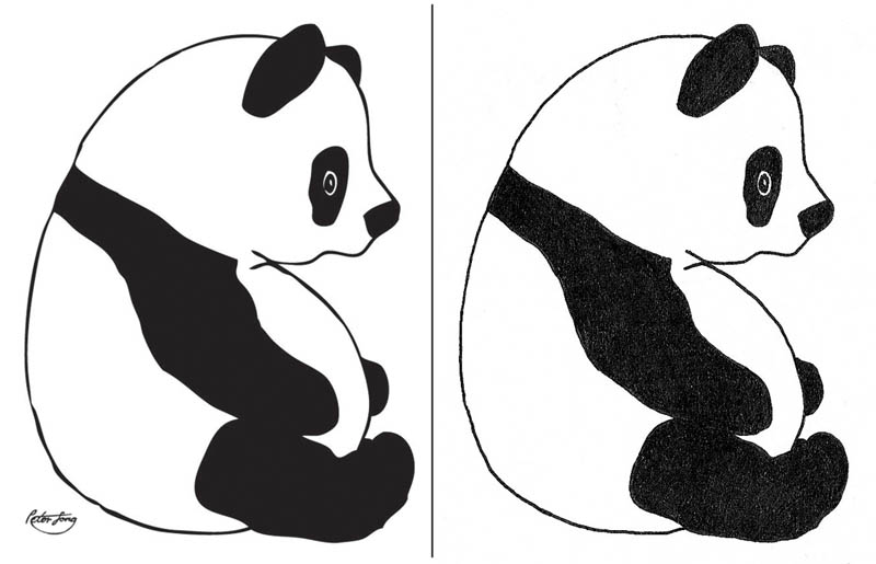 fat black and white panda vector