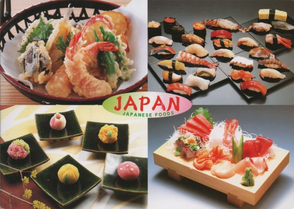 Postcard showing four traditional Japanese foods