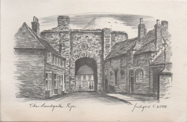 Postcard of a pencil drawing of the Landgate in Rye, East Sussex