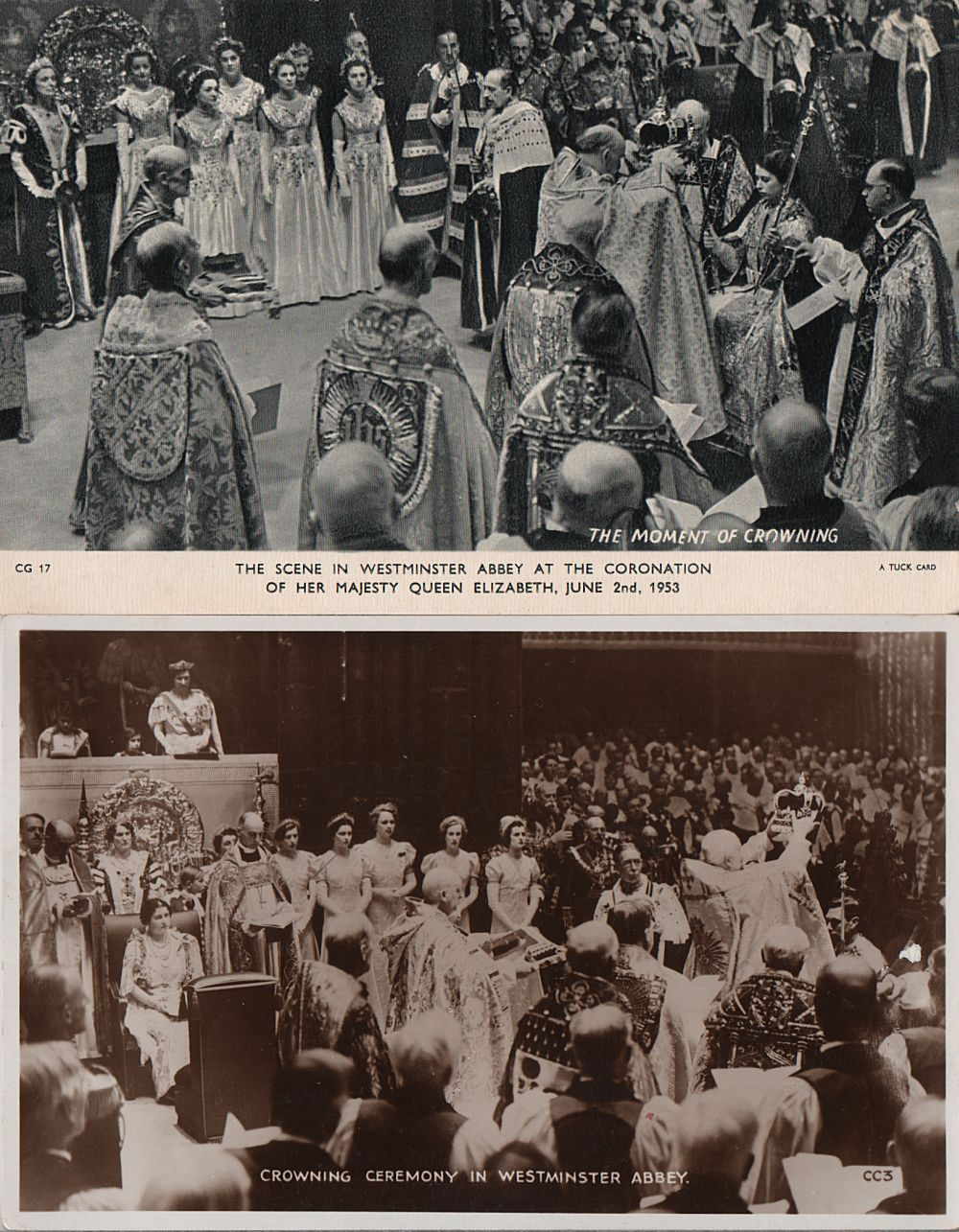 cards showing crowning ceremonies of Elizabeth II and George VI