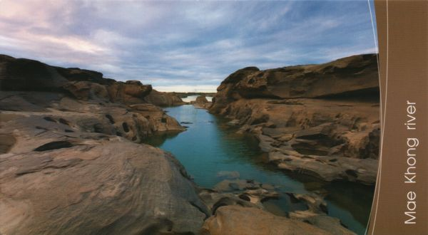 postcard of Mae Khong river and Sam Pan Bok reef