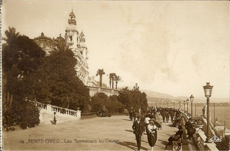 Monte Carlo, Monaco, the terraces outside the Casino 1927