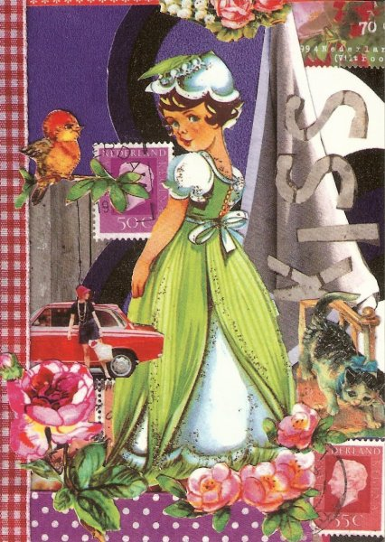 scrap book style design of girl in flower costume, roses, stamps, kitten, car, bird