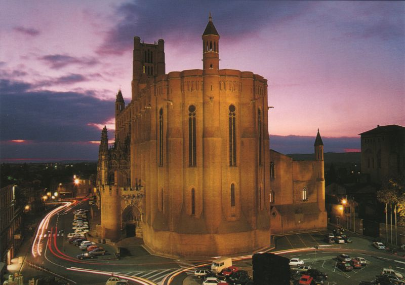 night view of the red brick Albi cathedral