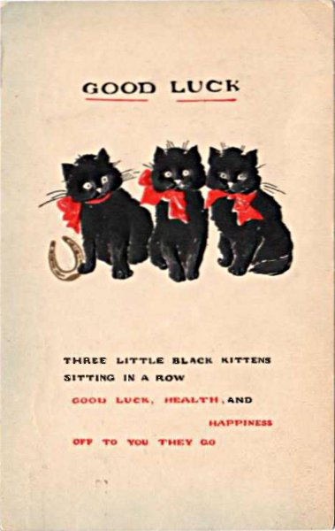 three black cats and a good luck message