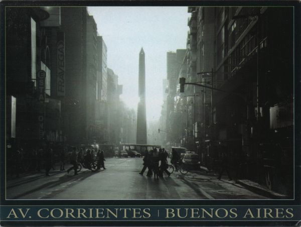 black and white postcard od the obelisk on the Avenue Corrientes