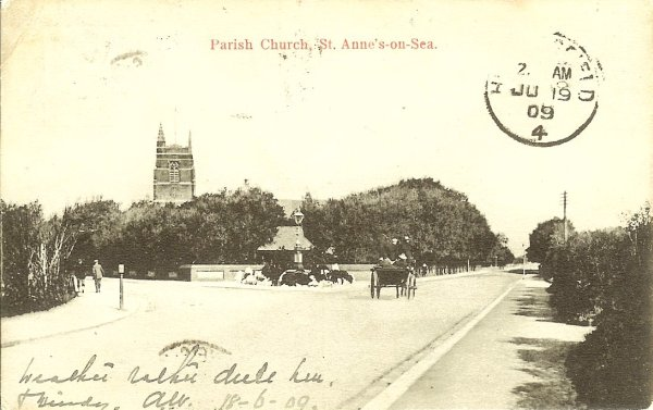 vintage card church behind trees on broad avenue