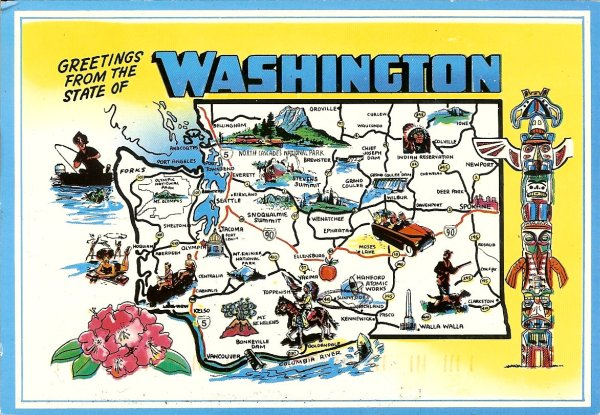 washington state map card with native american indian totem