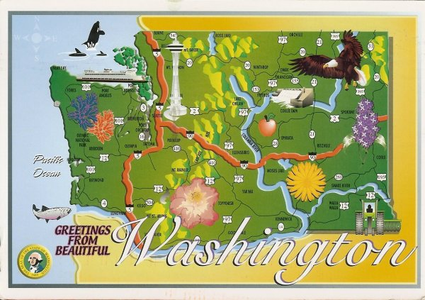 washington state map card - greetings from beautiful washington
