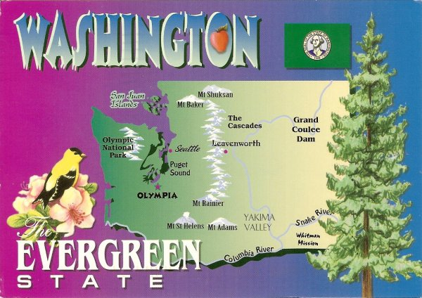 washington state map card, evergreen state
