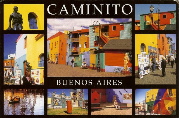 brightly coloured multiview postcard of street in Buenos Aires
