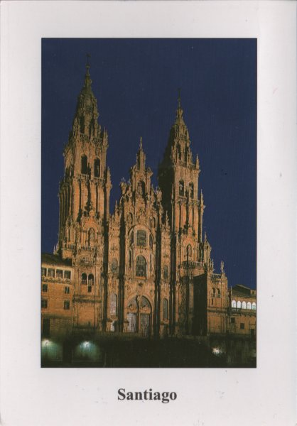 floodlit façade of Santiago cathedral