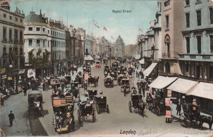 vintage postcard of Regent Street London