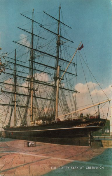 Cutty Sark on postcard dated 1973