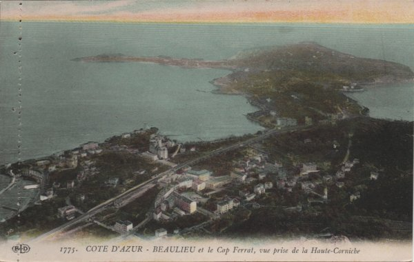 vintage postcard of Beaulieu and Cap Ferrat with the meditarranean beyond