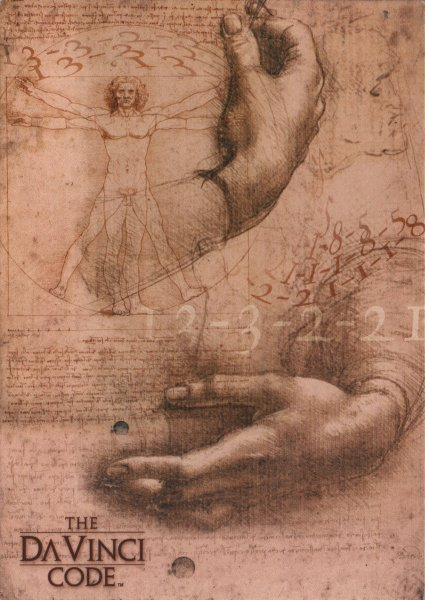postcard of Leonardo da vinci's Vitrunian Man superimposed on his study of hands and arms