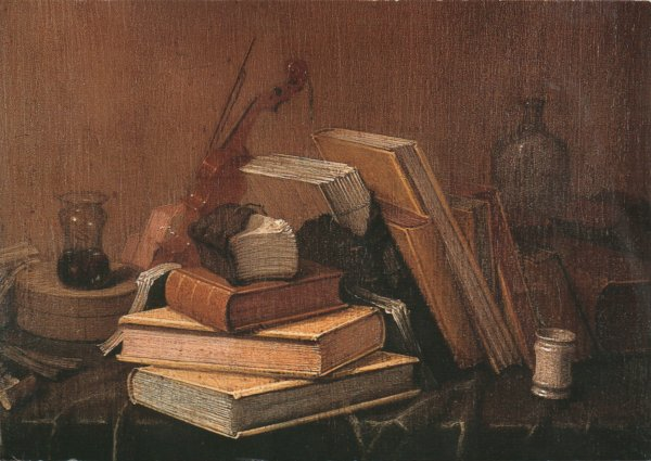 art postcard - still life with books