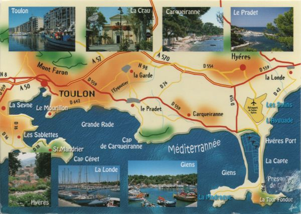 map of Mediterranean coast near Toulon