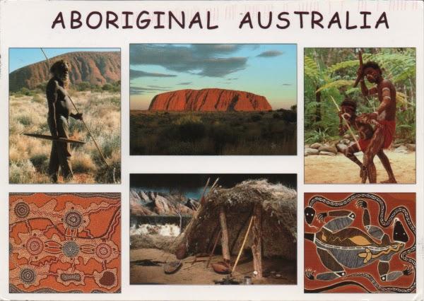 multiview postcard showing Australian aborigianl life and art