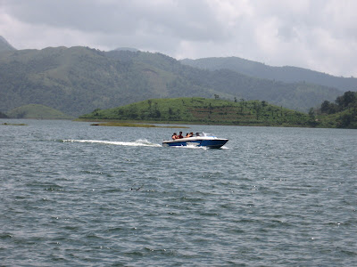 Motor boating at Banasura Sagar Dam, Wayanad
