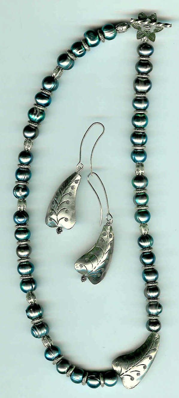 38. Teal Freshwater Pearls with Karen Hill Thai Sterling Silver + Earrings
