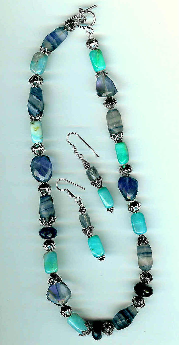 14. Aventurine, Fluorite, Amethysts and Bali Sterling Silver + Earrings