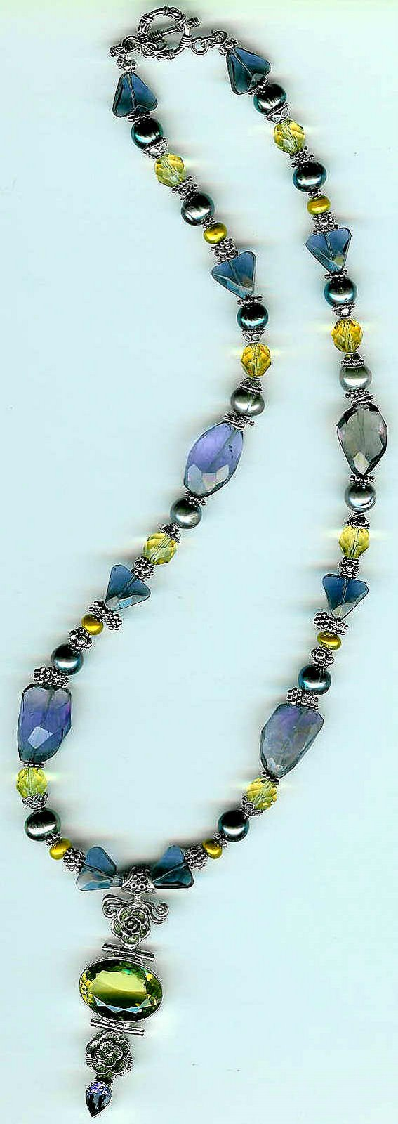 24. Yellow Quartz Pendant, Citrine, Amethysts, Crystals, Freshwater Pearls and Bali Sterling Silver