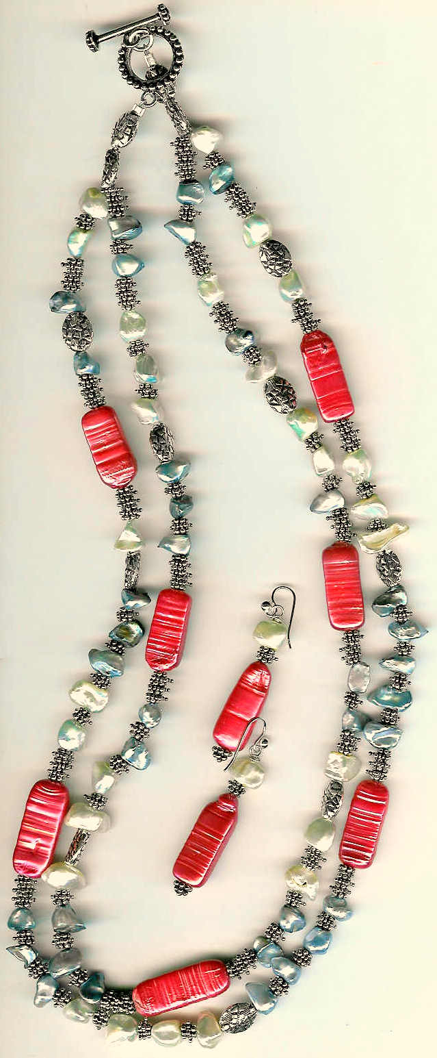 34. Keshi and Piwa Pearls, with Bali Sterling Silver