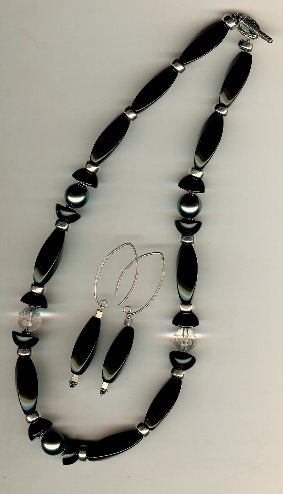 126. Onyx, Crystals with Shell Pearls and Bali Sterling Silver