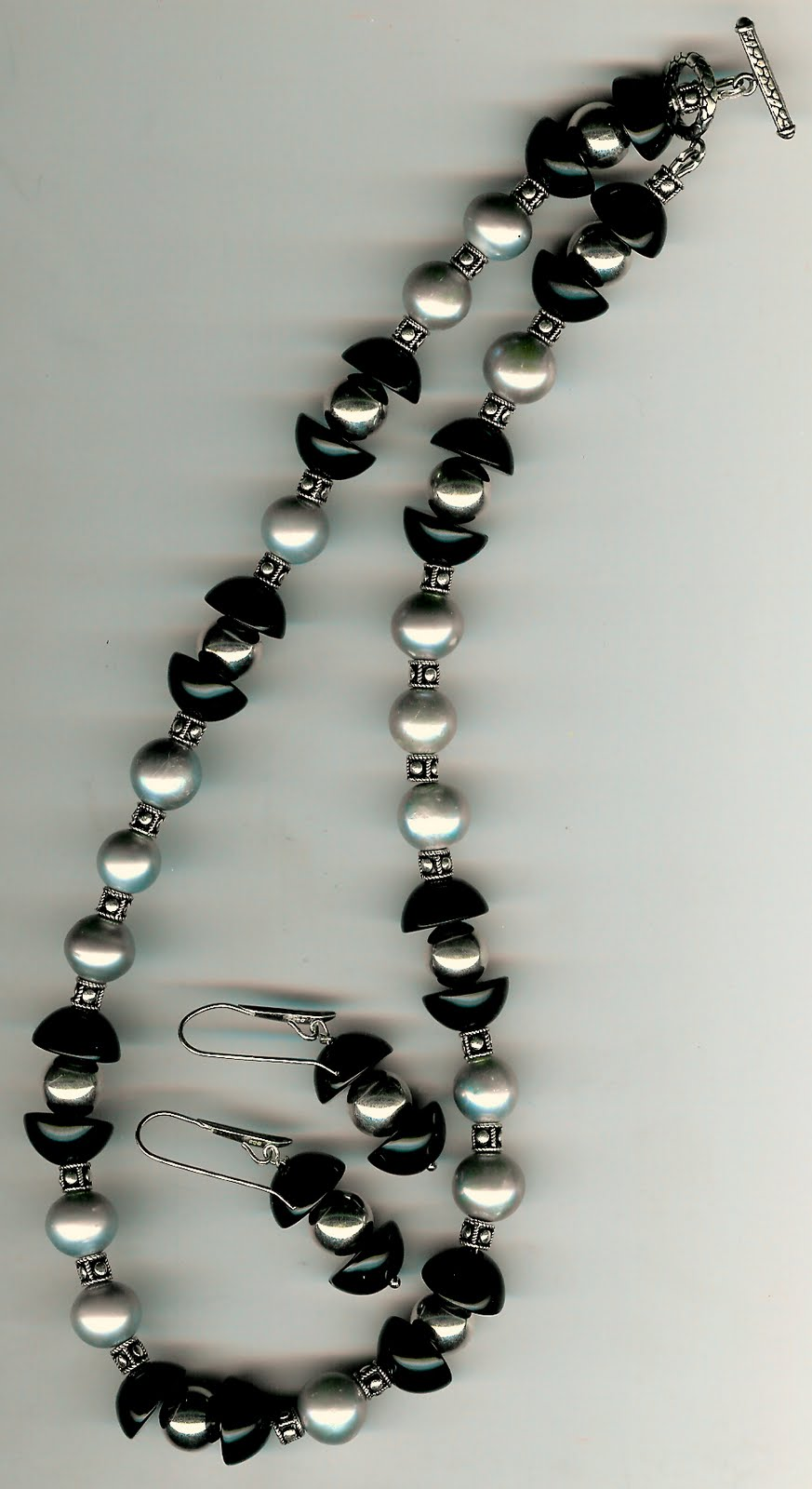 137. Akoya pearls, Onyx with Bali Sterling Silver + Earrings