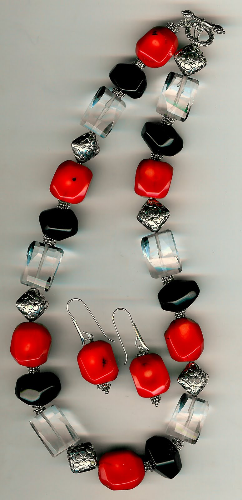 138. Coral, Fluorite, Onyx with Bali Sterling Silver + Earrings