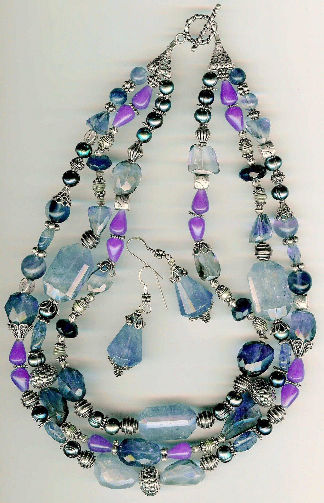 26. Amethysts, Jade, Crystals, Freshwater Pearls with Bali Sterling Siver + Earrings