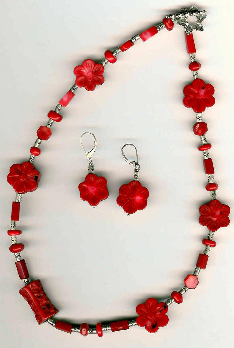 50. Carved Coral with Karen Hill Thai Sterling Silver + Earrings
