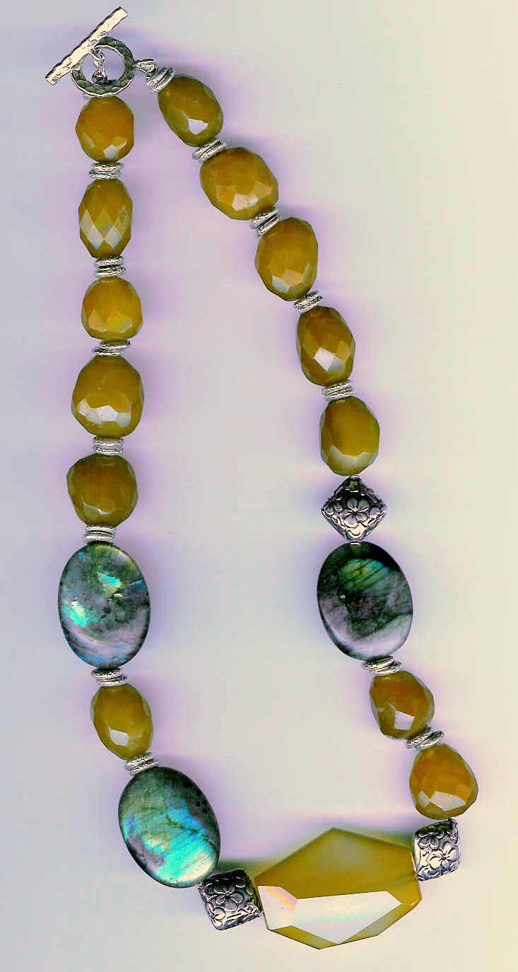 59. Labradorite, Citrine, Agate with Bali Sterling Silver