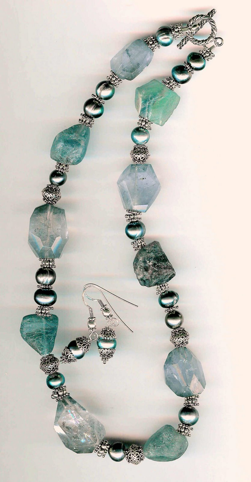 62. Rough Fluorite, Amrthysts, Freshwater pearls with Bali Sterling Silver + Earrings