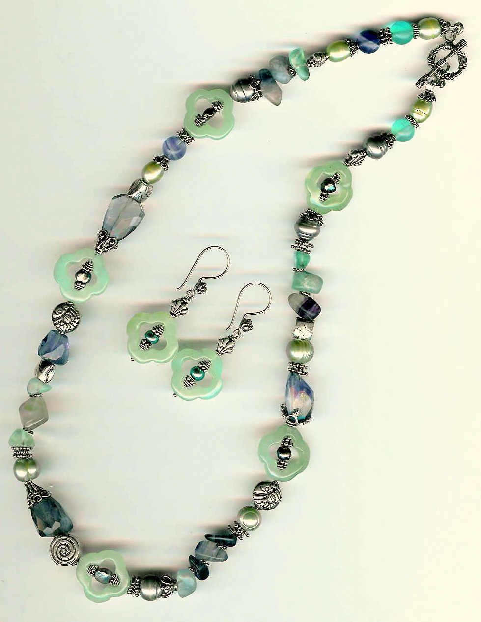 66. Carved Jade, Amethyst Freshwater Pearls, Aventurine, Fluorite with Bali Sterling Silver+Earring