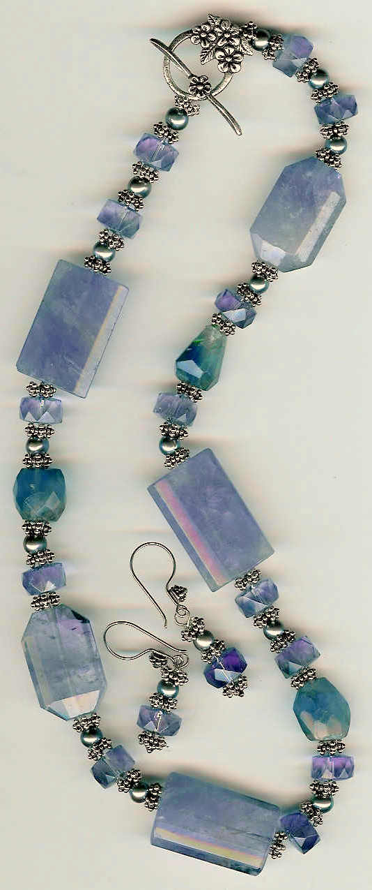 65. Amethysts, Fluorite with Bali Sterling Silver + Earrings