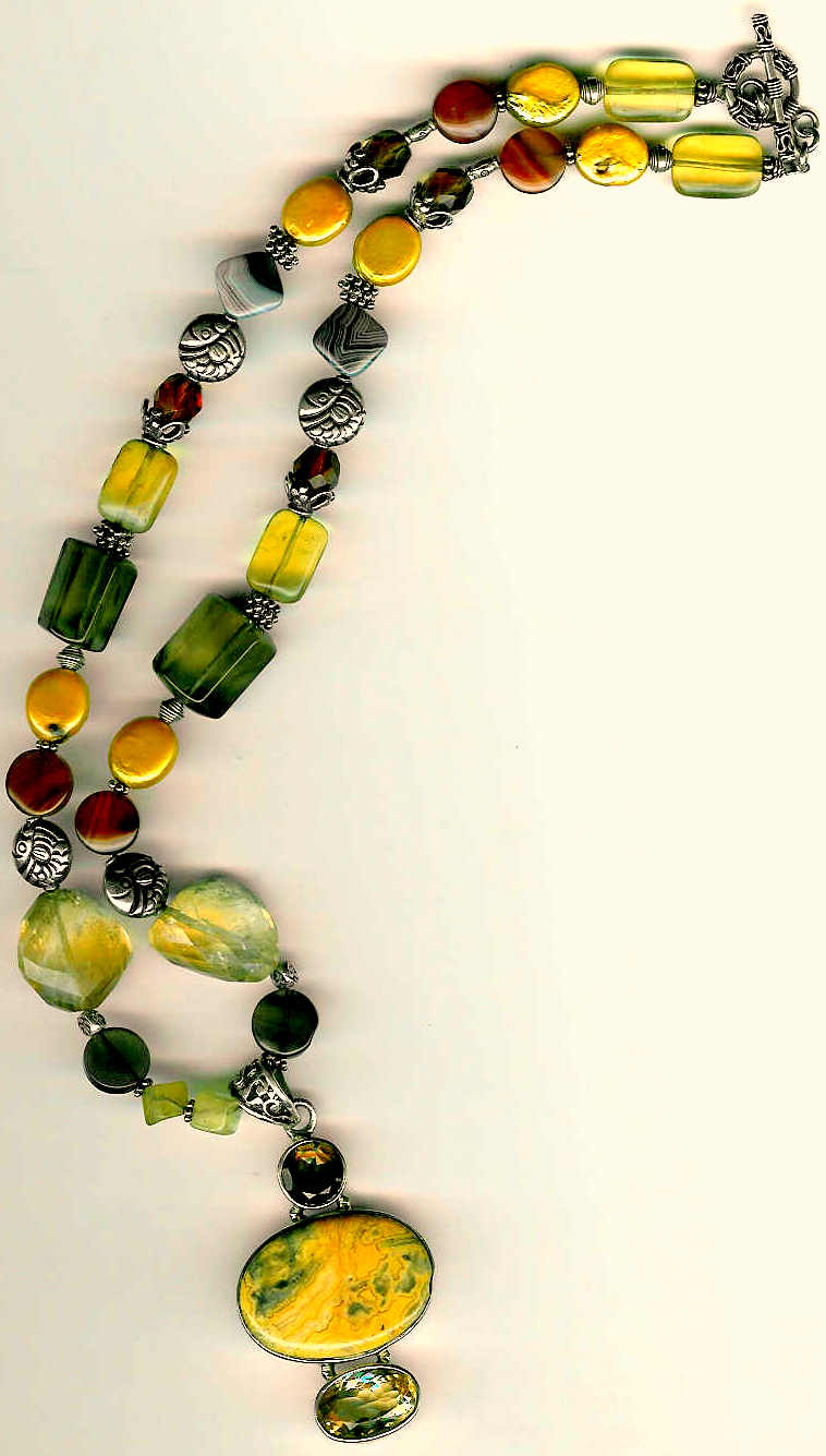 80. Jasper, Citrine, Topaz, Coin Freshwater pearls with Bali Sterling Silver