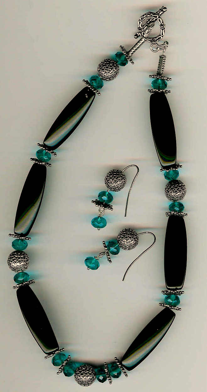 79. Black Onyx, Crystals with Bali Sterling Silver + Earrings