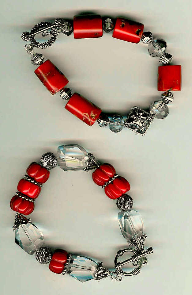 91. Red Coral, Crystals with Bali Sterling Silver