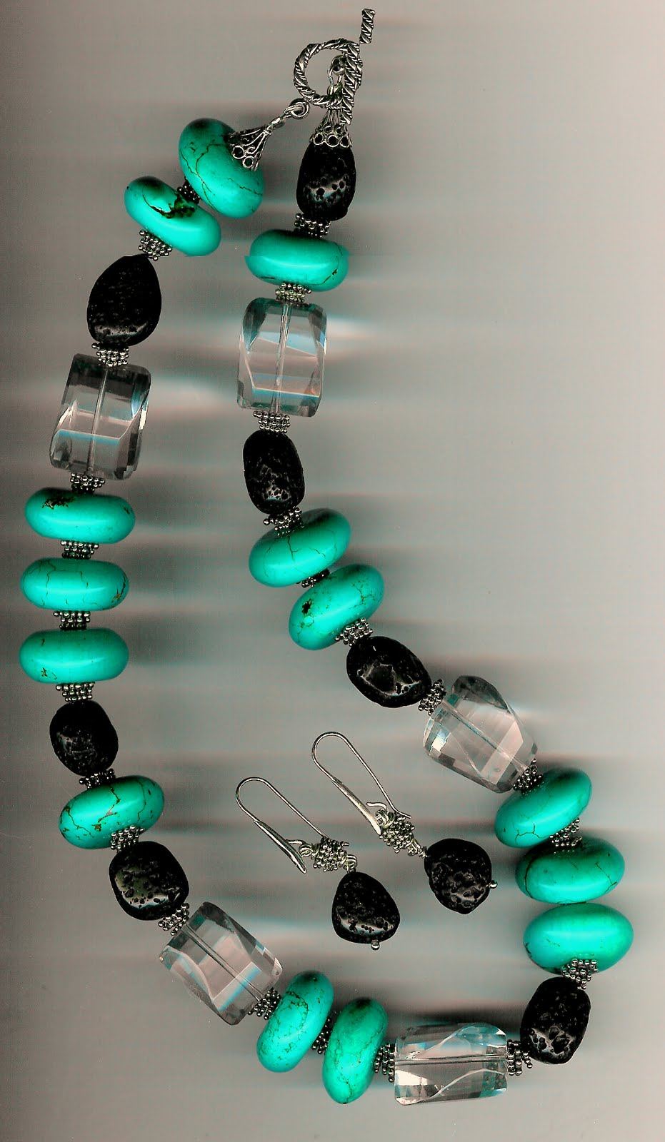 162. Turquoise, Clear Fluorite, Black Lava with Bali Sterling Silver + Earrings