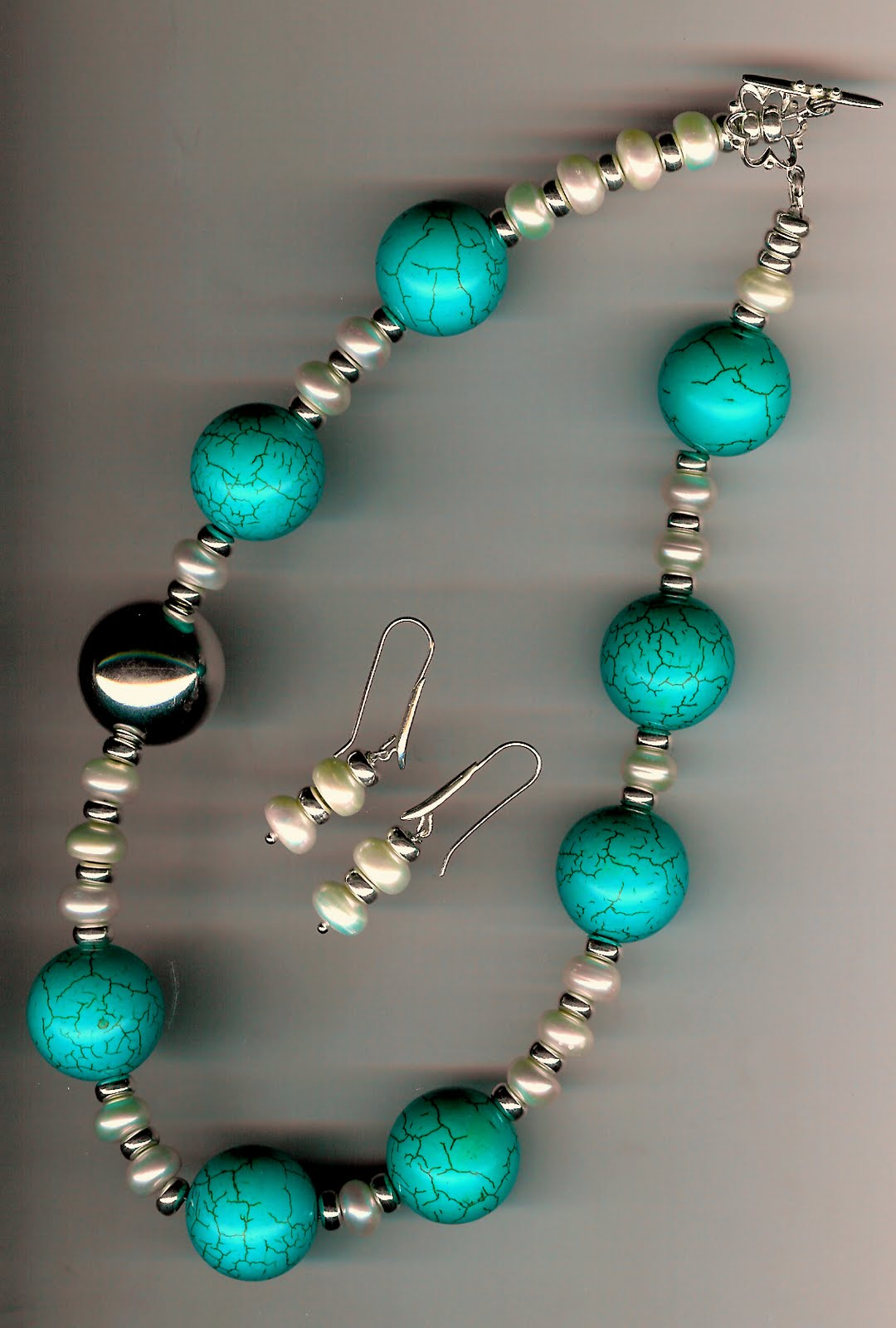 164. Turquoise, Freshwater Pearls and Sterling Silver + Earrings