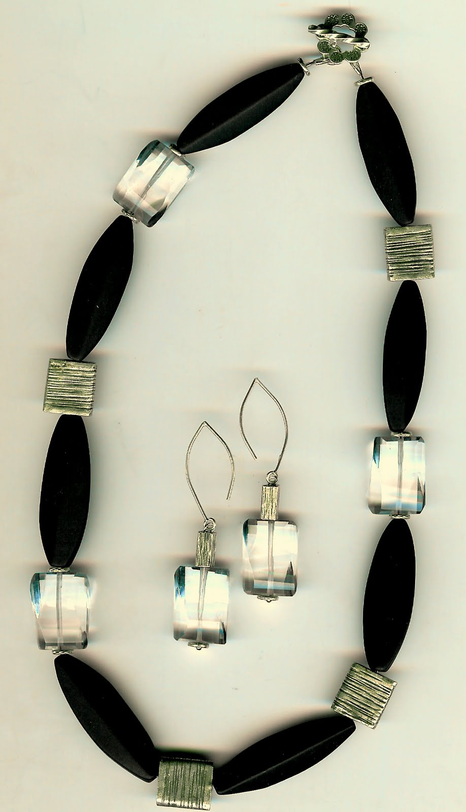 187. Matte Onyx, Clear Fluorite with Karen Hill Thai Sterling Silver + Earrings