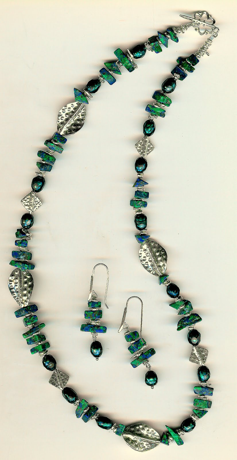 188. Lapis/Malachite with Faceted Pearls and Karen Hill Thai Sterling Silver + Earrings
