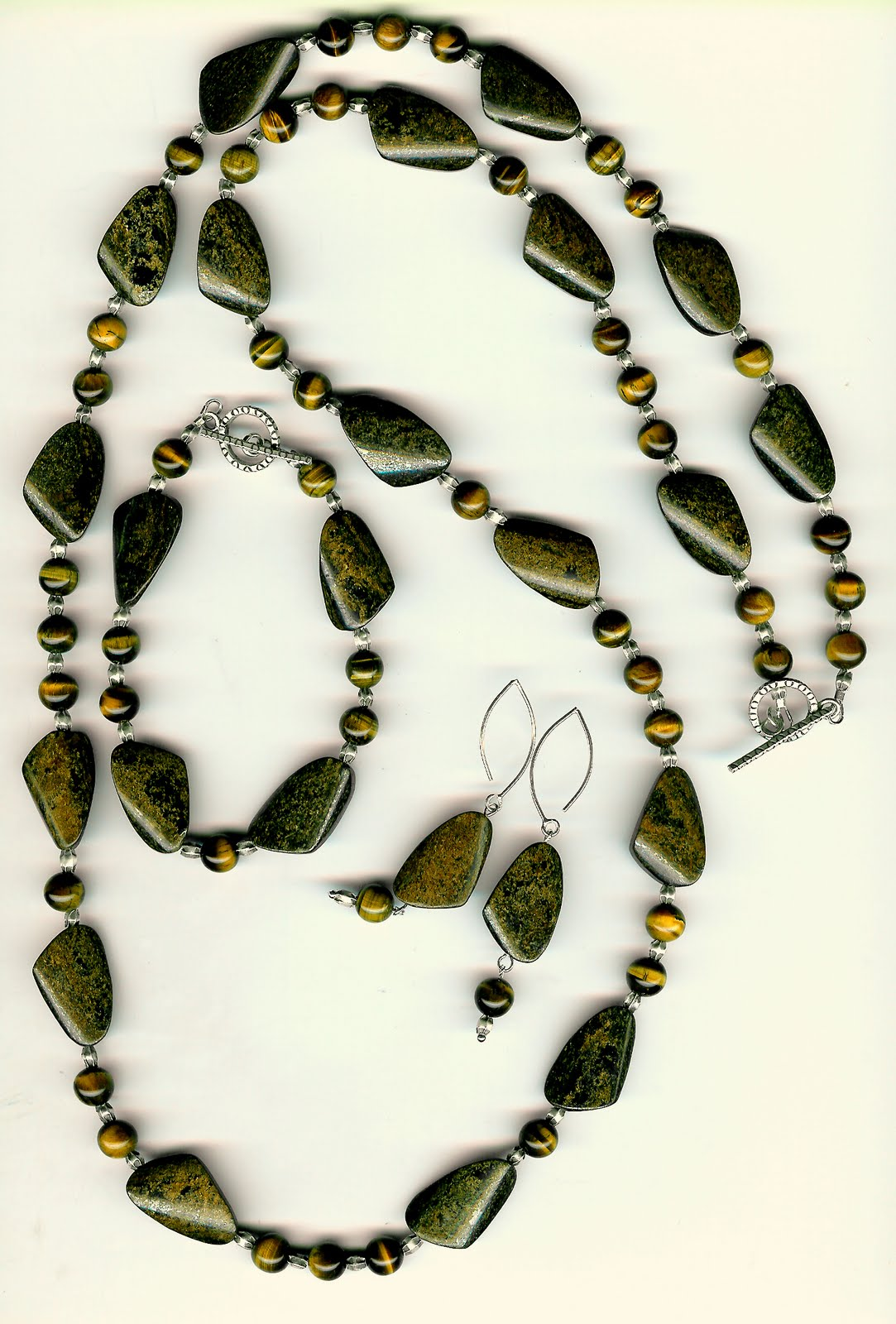 204. Bronzite, Tiger's Eye with Karen Hill Thai Sterling Siver with Bracelet + Earrings