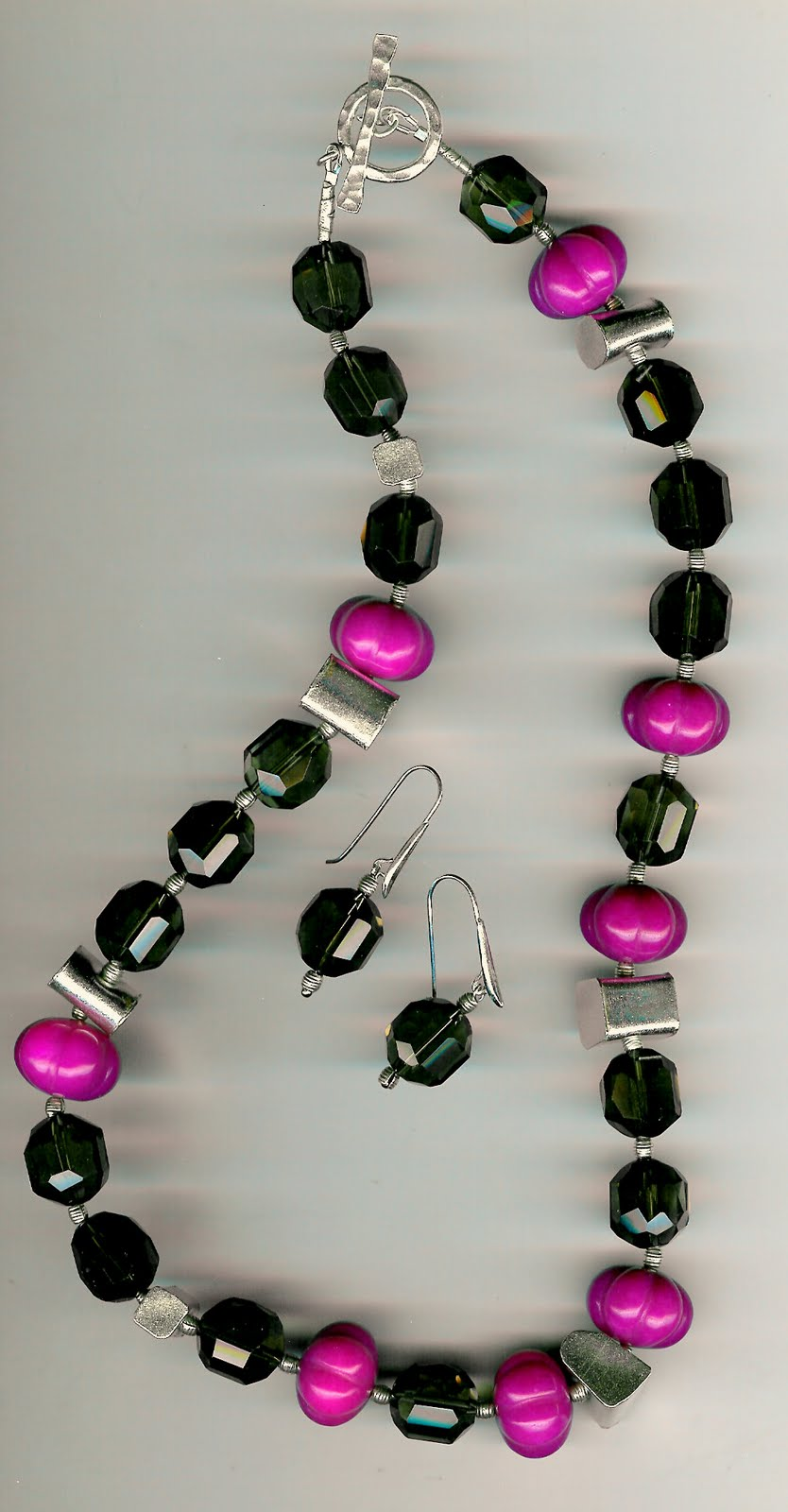 194. Faceted Smokey Topaz, Carved Pink Jade with Karen Hill Thai Sterling Silver + Earrings