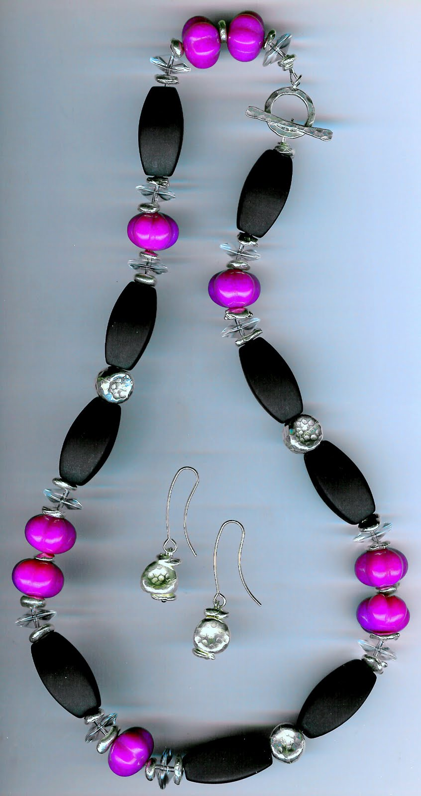 211. Matte Onyx, Carved Magenta Jade, Crystal with Karen Hill Thai Sterling Silver + Earrings