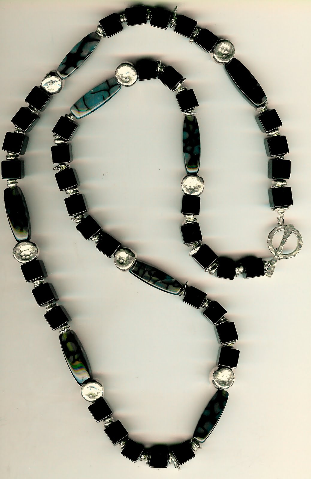212. Black Onyx, Variegated Agate with Karen Hill Thai Sterling Silver