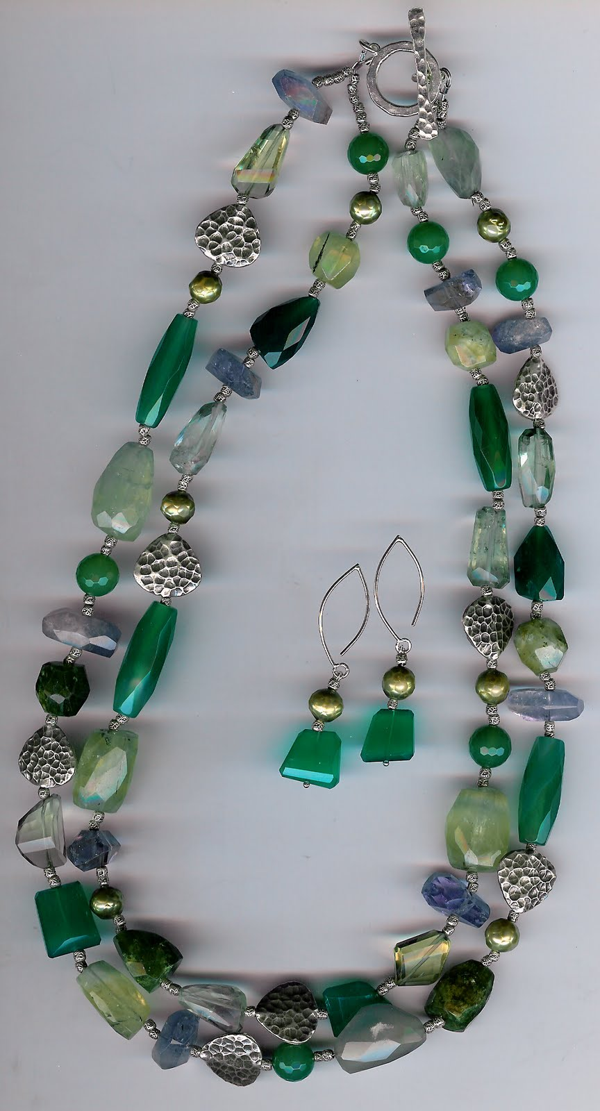 213. Jade, Lemon topaz, Prehnite, Pearls, Agate and Karen Hill Thai Sterling Silver + Earrings