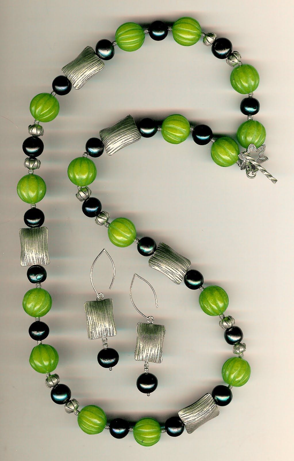 214. Green Jade, Akoya Pearls with Karen Hill Thai Sterling Silver + Earrings